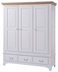 Georgia Painted 3 Door Wardrobe with Drawers Medium Oak stain and satin lacquered finish tops with grey painted bases £850.00
