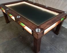 Game Room Tables, Board Game Table, Board Games, Phillips Hue Lighting, Mahjong Table, Dnd Table, Air Hockey, Game Room Decor, Tabletop Games