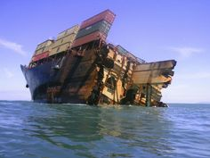 The bow section of the stricken container ship Rena remains above water after the stern broke off and sank about 14 nautical miles (22 km) from Tauranga on the east coast of New Zealand's North Island in this January 11, 2012 photo. © 2012 Baltimore Sun