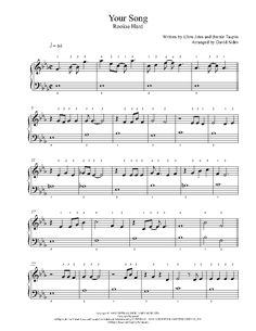 Your Song by Elton John Piano Sheet Music | Rookie Level