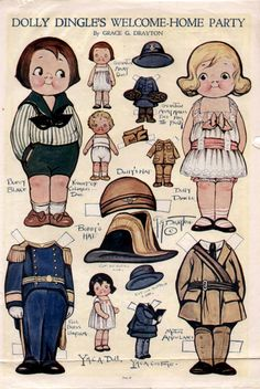 Dolly Dingle Paper Dolls by Grace Drayton 1933 Magazine Page Paper Toys, Paper Crafts, Paper Puppets, Welcome Home Parties, Paper Dolls Printable, Kewpie, Vintage Paper Dolls, Online Collections, Doll Patterns