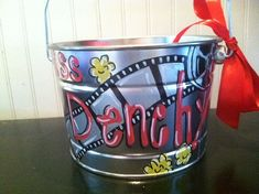Cute movie hollywood bucket perfect for  teachers classroom or childs room hand painted and personalized via Etsy