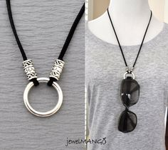 eyeglasses necklace eyeglass holder suede leather by JewelMango