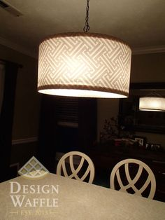 Drum shade diy over an existing large chandelier burlap fishing diy chandelier drum shade will so be making this cheap and easy to hide ugly chandeliers aloadofball Image collections