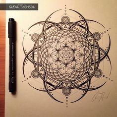 #Artwork of #GlennThomson #mandala #penandink @sacredgeometry Mandala Drawing, Mandala Tattoo, Mandala Art, Fractal Tattoo, Tattoo Arbre, Buddha Tattoos, Body Art Tattoos, Sacred Geometry Tattoo, Sacred Geometry Symbols