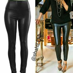 """BLACK Faux leather leggings high waist New Sexy NWT, Black Sexy Faux leather leggings. High waist Medium weight Lightly soft Fleece-lined These are Very Stretchy Fabric Content : 65% Polyester + 35% Cotton  Measurements laying flat Unstretched to stretched (Inseam = 27-28"""") (Total Length= 38-39"""") (Front Rise = 12"""") (Back Rise =14"""")  (Small Waist =11-13"""") (Medium Waist =12-14"""") (LargeWaist =13-15"""") (XL Waist =14- 16 """" )  OTHER COLORS AND SIZES ARE AVAILABLE IN MY CLOSET.   *Price is firm…"""