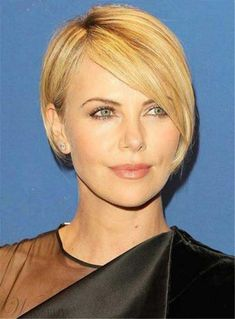 #WigsBuy - #WigsBuy Short Blonde Straight Side Swept Bangs Human Hair Wig Full Lace Cap 8 Inches - AdoreWe.com
