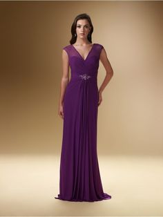 Sheath / Column V-neck Chiffon Mother of the Bride Dresses Under 200 99801029