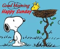 "Good Morning! Happy Sunday! (""Good Morning Happy Sunday Snoopy Quote"") --Peanuts Gang/Snoopy & Woodstock"