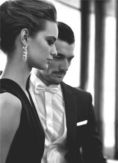 David Gandy:I told you Darling what sparkles to a woman is bright hard love on unbreakable stoney affection forget the glamour its just beautous-Allisha B. David Gandy, Couple Goals, Classy Couple, Stylish Couple, Black Tie Affair, Glamour, Tuxedo For Men, Fashion Moda, Style Fashion