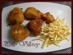 crujiente por fuera y suave por dentro, con una bechamel deliciosa..   un pollo villeroy acompañado de patatas paja!