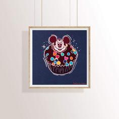 Mickey Birthday Cupcake Dessert Food Illustration Mini Print 4x4