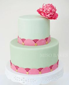 Simple and beautiful Springtime cake with peony-inspired flower.