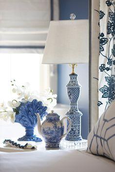 Blue and white bedroom designed by Cindy Rinfret of Rinfret, Ltd.