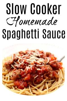Slow Cooker Homemade Spaghetti Sauce–a meaty slow cooker spaghetti sauce that takes minutes to get going and then simmers all day in your crockpot. I like to serve this sauce over any pasta or over spaghetti squash. #slowcooker #crockpot Pressure Cooker Spaghetti, Slow Cooker Spaghetti Sauce, Homemade Spaghetti Sauce, Instant Pot Pressure Cooker, Pressure Cooker Recipes, Pressure Cooking, Spagetti Sauce, Pressure Pot, Spaghetti Recipes