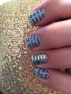 Jamberry Nail Wraps ! - This design is Newspaper on Mint Green and it is RETIRING as of february 28th, hurry and order yours today! Also, on my ring finger I added a Metallic Pinstripe wrap :)