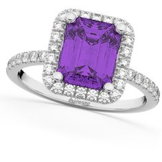 Allurez Amethyst & Diamond Engagement Ring 18k White Gold (3.32ct) (14.345 DKK) ❤ liked on Polyvore featuring jewelry, rings, white gold diamond rings, purple engagement rings, diamond band ring, white gold amethyst ring and amethyst diamond ring