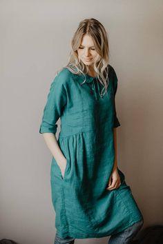 Linen Doll Dress Turquoise Linen Tunic Dress Peter Pan