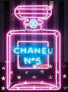 Neon Channel No.5 perfume bottle