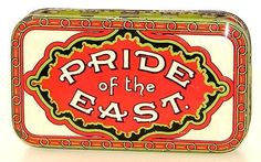PRIDE OF THE EAST ~ LITHOGRAPHED HORIZONTAL POCKET TOBACCO TIN ~ GREAT COLORS!