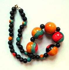 Vintage Wooden Bead Necklace / Colorful Statement Necklace / Hand Painted Beaded Necklace by thehappyforest on Etsy