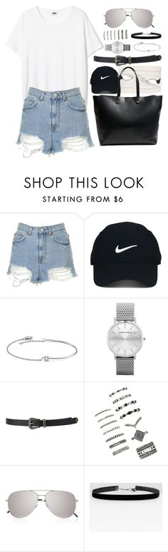 """""""Untitled #942"""" by elly98 ❤ liked on Polyvore featuring Topshop, Sandro, Nike Golf, Amorium, Forever 21 and Yves Saint Laurent"""