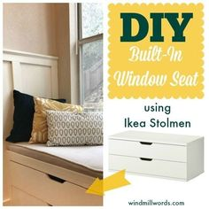 More Ways to Fake Built In Shelving: The Sequel A Window Seat Made from Ikea Stolmen. Definitely want some kind of storage with a window seat on topA Window Seat Made from Ikea Stolmen. Definitely want some kind of storage with a window seat on top Stolmen Ikea, Banco Ikea, Bedroom Furniture, Diy Furniture, Furniture Layout, Furniture Makeover, Furniture Design, Diy Home Decor, Room Decor