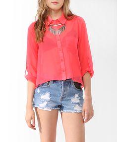 Sheer Neon Shirt   FOREVER21 - 2000047687
