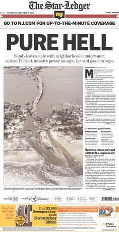 "Stark front page from the Star-Ledger: ""PURE HELL"" ~ super storm Sandy, 2012"