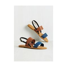 Colorblocking Varied Itinerary Sandal ($16) ❤ liked on Polyvore featuring shoes, sandals, blue, slingback, summer sandals, blue shoes, blue flats, color block sandals and summer flats