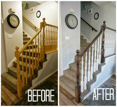two points for honesty: refinishing oak stair railings!
