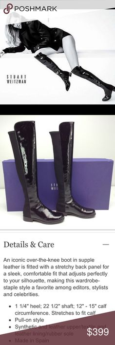 """[NIB] Stuart Weitzman Patent OTK 50/50 Boots Size 36 🔅 BRAND NEW IN BOX 🔅 Black patent leather front, black Elastane back. Fits 12""""-16"""" calf. Shaft is 22.5"""" tall. 1.25"""" stacked heel🔅Classic Stuart Weitzman style and a Fall/Winter must-have!🔅 I bought these Winter 2016 on impulse b/c I love 50/50's and they were sold out everywhere. but I haven't worn them, so I'd like to find them a new home. Retail $655, I paid $590+tax, so I don't have a lot of room on price, but... LIKE THEM? Make me…"""