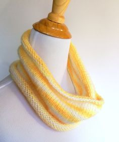 handknit soft and sparkly cowl in sunny yellow stripe - white, buttercup variegated neckwarmer scarf knit in glittery dazzle-aire yarn - $17.50 at kateydid handmade
