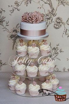 wedding cakes with cupcakes Taupe Roses Wedding Cake Cupcake Tower Wedding, Wedding Cake Roses, Wedding Cake Rustic, Fall Wedding Cakes, Wedding Cakes With Cupcakes, Beautiful Wedding Cakes, Gorgeous Cakes, Rose Wedding, Wedding Cake Designs