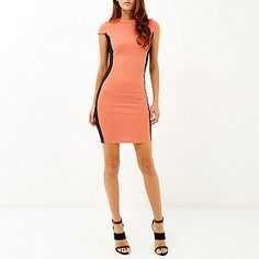 Coral pink bodycon mini dress £35 #riverisland