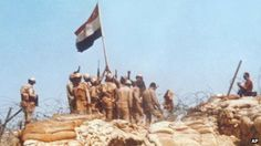 Egyptian soldiers raise a flag on Bar-Lev line bunker in Sinai, during the Middle East war of 1973 October War, Egypt Flag, Modern Egypt, Cairo Egypt, Modern Warfare, 40 Years, Bunker, History, World
