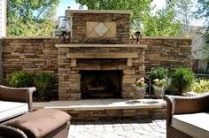 outdoor fireplace block wall - Google Search