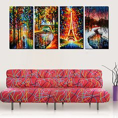 Stretched Canvas Art Landscape Rain and Love Set of 4 – USD $ 69.99