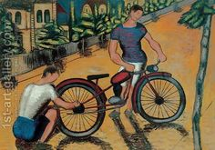 Román, György - Boys with Motorbike - Other/Unknown art movement - Genre - Oil on canvas Cycling Art, Art Pictures, Oil On Canvas, Paintings, Hungary, Bicycle, Portraits, Artists, Boys