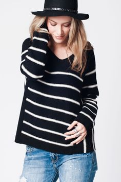 Q2 Black Stripe Knit Jumper