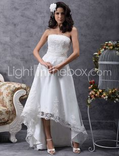 149.99  Sheath   Column Strapless Asymmetrical Tulle Made-To-Measure Wedding  Dresses with Beading   Appliques   Button by LAN TING BRIDE®   Little White  ... bd38e3b65599