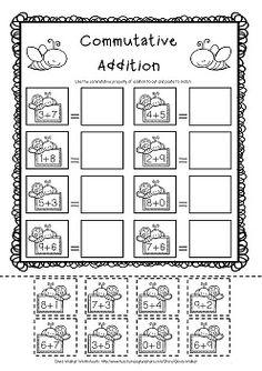 math worksheet : commutative property of addition  addition worksheets  pinterest  : Commutative And Associative Properties Of Addition Worksheets
