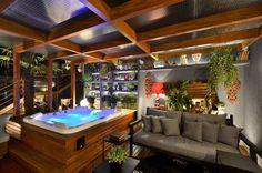 Spa und Home Escape: Super Models und Fotos! Spas, Bungalows, Entspannendes Bad, Hot Tub Room, Rooftop Terrace Design, Hot Tub Garden, Door Gate Design, Design Jardin, Outdoor Spa