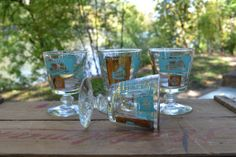 Aqua and Gold Glass Set Paddle Boat Steam Boat by silkcreekgallery, $20.00