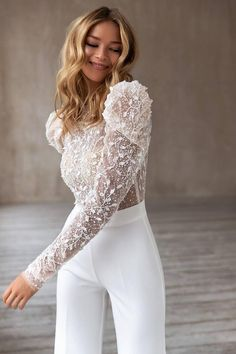 Modest Wedding Dresses, Wedding Dress Sleeves, Unique Dresses, Bridal Dresses, Wedding Gowns, Prom Dresses, Sequin Playsuit, Wedding Jumpsuit, Mode Outfits