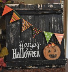 Happy Halloween Reclaimed Rustic Wood Sign with by seasidedreaming