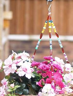Beaded hanging baskets...My hubby and son made some of these for the greenhouse!!!  :)