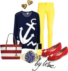 """marine fashion, by liz..."" by anabelenalons on Polyvore"
