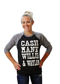 a91005807ff9cb CASH HANK WILLIE   WAYLON Baseball Raglan Sleeve Shirt by Tough Little  Lady  USA Lg. Women s Secret