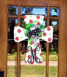 Christmas Door Hanger  Initial Polka Dot by MemoryMakerStudio